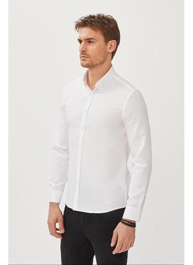 Avva Erkek  Oxford Düğmeli Yaka Slim Gömlek E002000.05 Beyaz